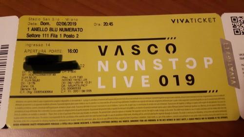 Vendo 2 biglietti  Vasco rossi per il 02/06/2019